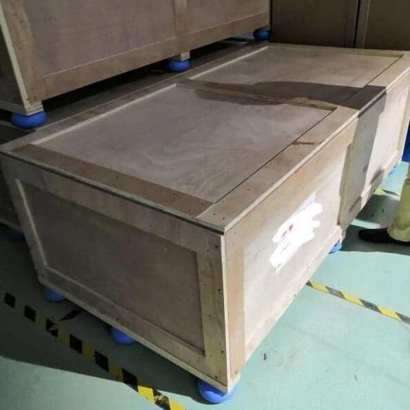 What are the air donut cushions under wooden crate?